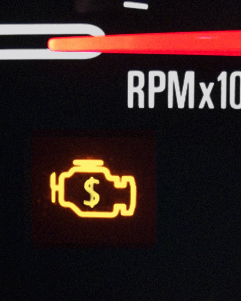 Many newer vehicles use a pictogram of the engine as the check engine light.
