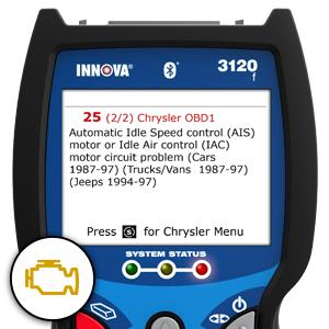 Innova 3120F  can read and clear Check Engine lights most popular OBD1 vehicles.