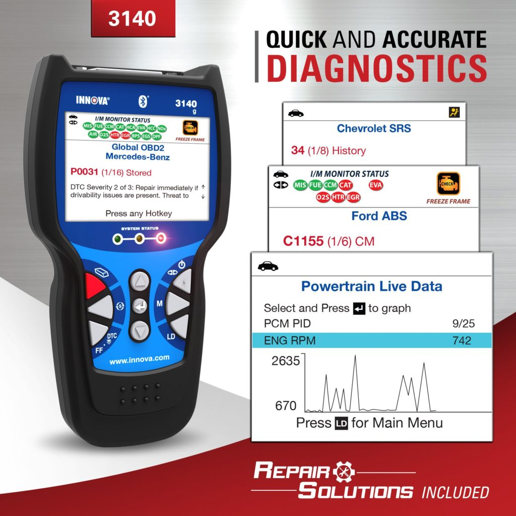 The Innova 3140G allows you to make quick and accurate diagnostics.