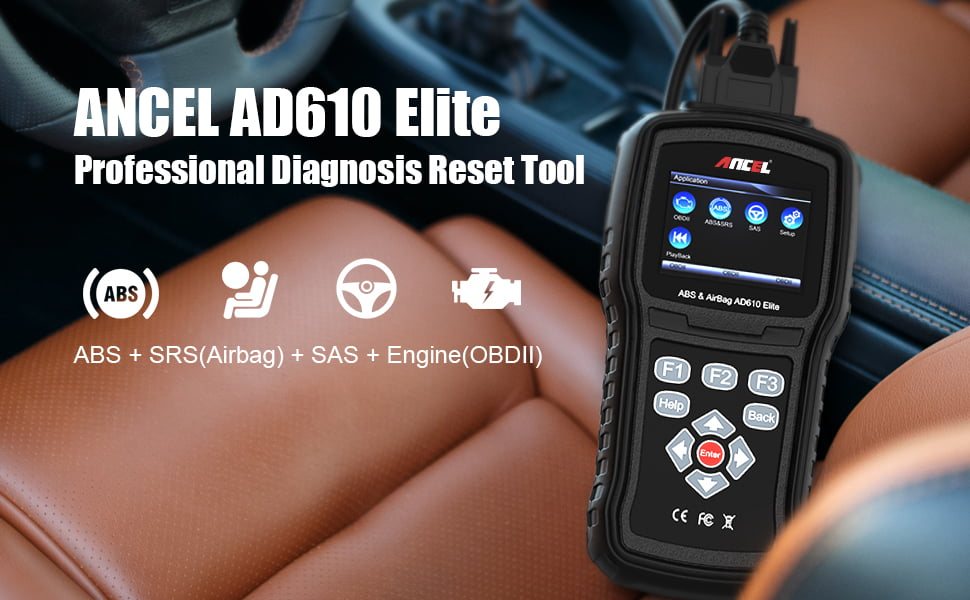 ANCEL AD610 Elite is used for reading and erasing ABS & SRS light trouble codes on most OBD2 vehicles.