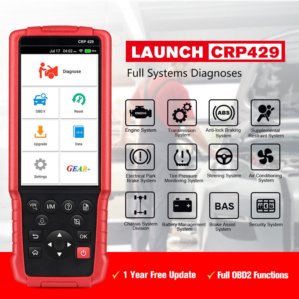 The Launch CRP429 supports full OBD2 testing and diagnostics.