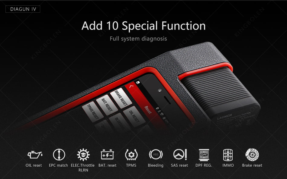 Launch X-431 Diagun IV can perform 10 updated special functions.