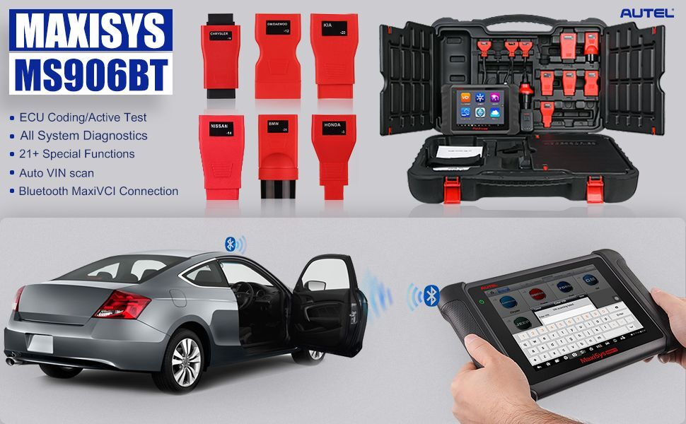 Autel Maxisys MS906BT is an advanced diagnostic scan tool with wireless connection.